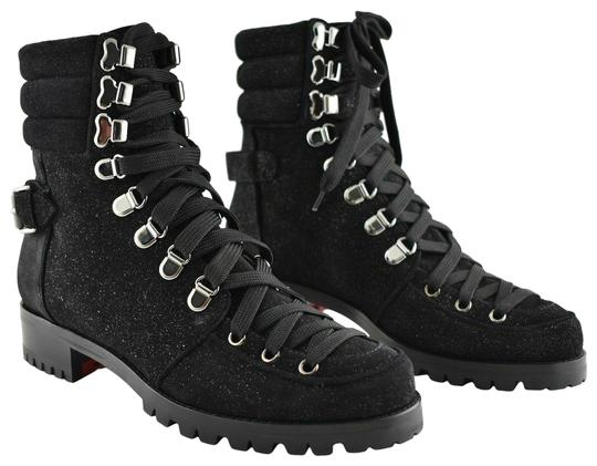 Preload https://img-static.tradesy.com/item/25815464/christian-louboutin-black-who-runs-flat-glitter-suede-lace-up-ankle-combat-bootsbooties-size-eu-385-0-1-540-540.jpg