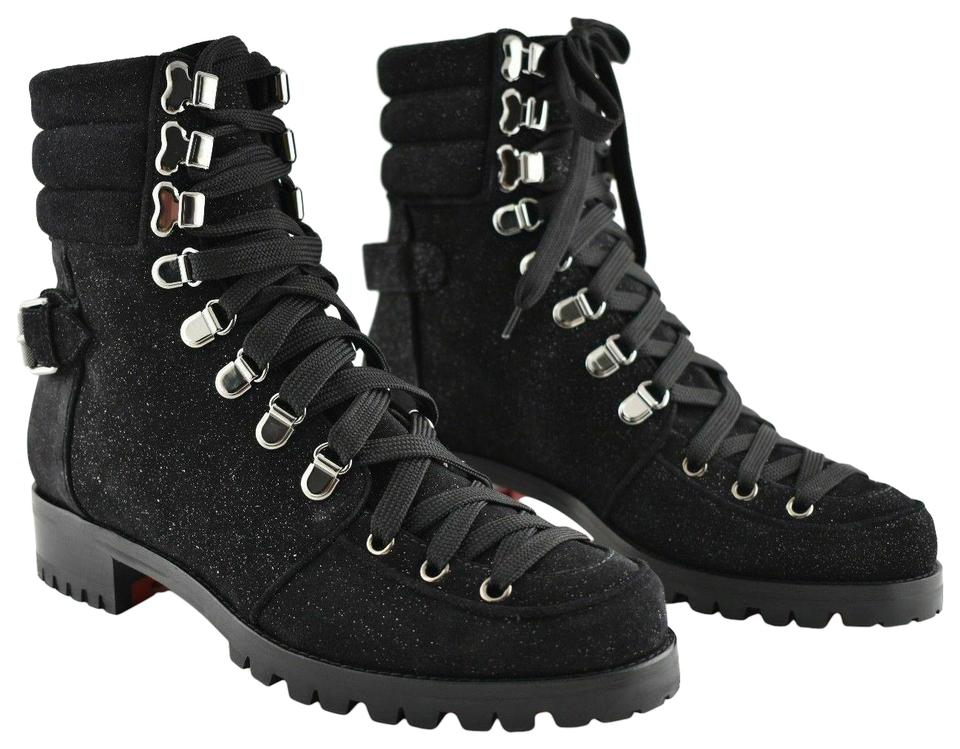 huge selection of ebeab 9f64e Christian Louboutin Black Who Runs Flat Glitter Suede Lace Up Ankle Combat  Boots/Booties Size EU 38.5 (Approx. US 8.5) Regular (M, B) 34% off retail