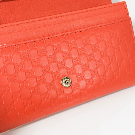 Gucci NEW GUCCI 449396 Leather Microguccissima Continental Wallet, Orange Image 10