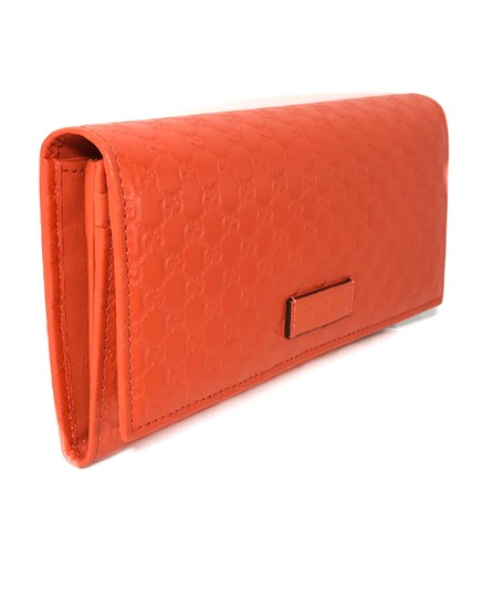 Gucci NEW GUCCI 449396 Leather Microguccissima Continental Wallet, Orange Image 2