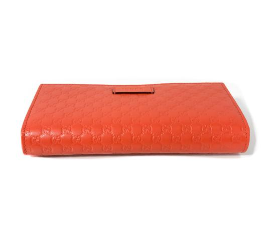 Gucci NEW GUCCI 449396 Leather Microguccissima Continental Wallet, Orange Image 4
