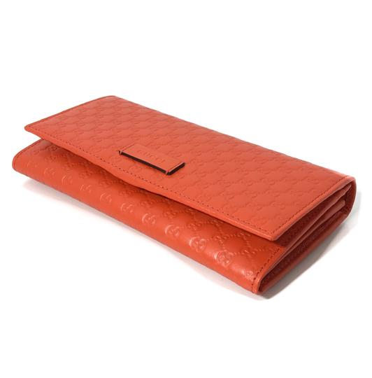 Gucci NEW GUCCI 449396 Leather Microguccissima Continental Wallet, Orange Image 5