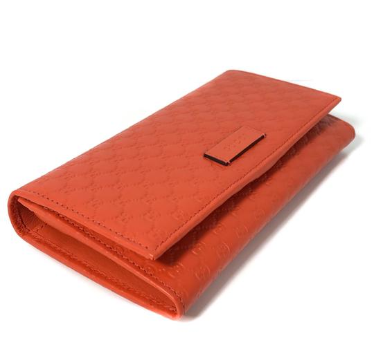 Gucci NEW GUCCI 449396 Leather Microguccissima Continental Wallet, Orange Image 7