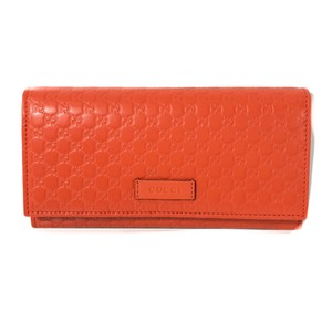 Gucci NEW GUCCI 449396 Leather Microguccissima Continental Wallet, Orange