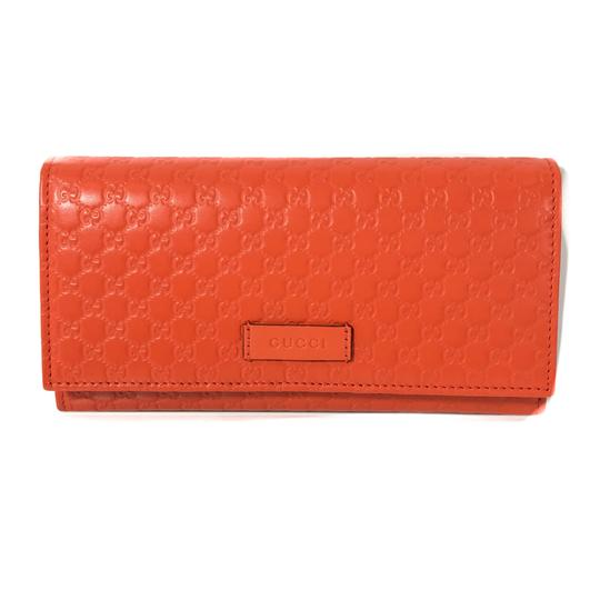 Gucci NEW GUCCI 449396 Leather Microguccissima Continental Wallet, Orange Image 0