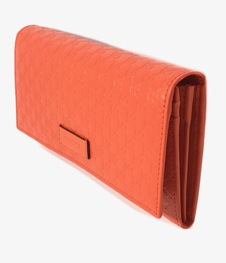 Gucci NEW GUCCI 449396 Leather Microguccissima Continental Wallet, Orange Image 3