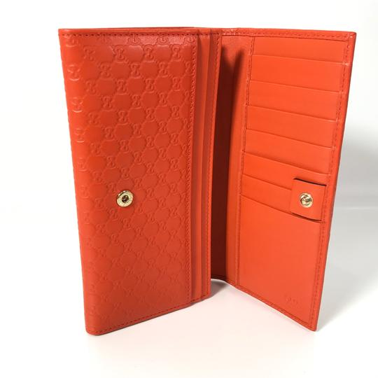 Gucci NEW GUCCI 449396 Leather Microguccissima Continental Wallet, Orange Image 9