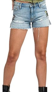 Hudson Casual Chic Embroidered Cut Off Shorts Light-Wash