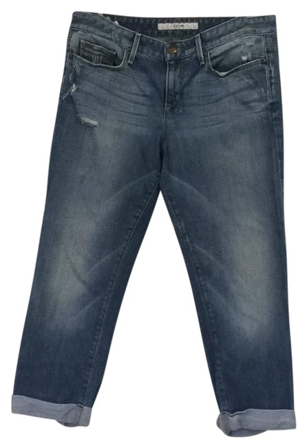 Item - Medium Denim with Distress Cropped Boyfriend Relaxed Fit Jeans Size 4 (S, 27)