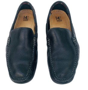 14th & Union Leather Mens Loafers Moccasins BLACK Flats