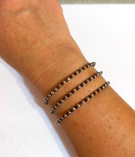 Officina Bernardi NWT Officina Bernardi sterling silver & black Rhodium platinum over sterling silver flexible coil bead bracelet Image 10