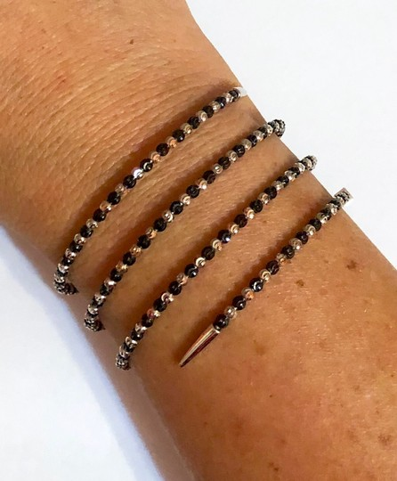 Officina Bernardi NWT Officina Bernardi sterling silver & black Rhodium platinum over sterling silver flexible coil bead bracelet Image 9