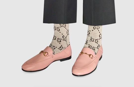 Gucci Slides Loafers Leather Pink Flats Image 4