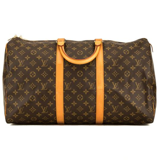 Preload https://img-static.tradesy.com/item/25815772/louis-vuitton-keepall-monogram-50-4142019-brown-weekendtravel-bag-0-0-540-540.jpg