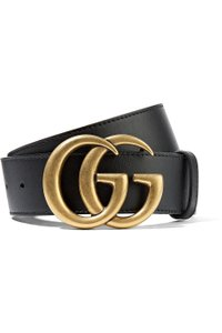 "Gucci Marmont 75/30 1.5"" Black Leather Belt Gold Logo Double GG"