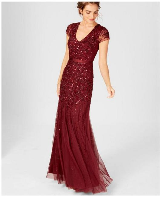Item - Deep Wine Cap-sleeve Beaded Embellished Gown Long Formal Dress Size 6 (S)