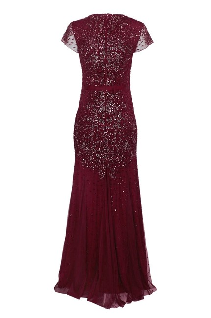 Adrianna Papell Cap Sleeve Embellished Evening Beaded Dress Image 2