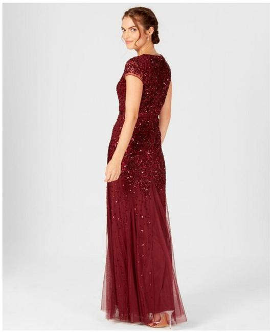 Adrianna Papell Cap Sleeve Embellished Evening Beaded Dress Image 4