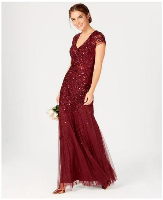 Item - Deep Wine Cap-sleeve Beaded Embellished Gown Long Formal Dress Size 10 (M)