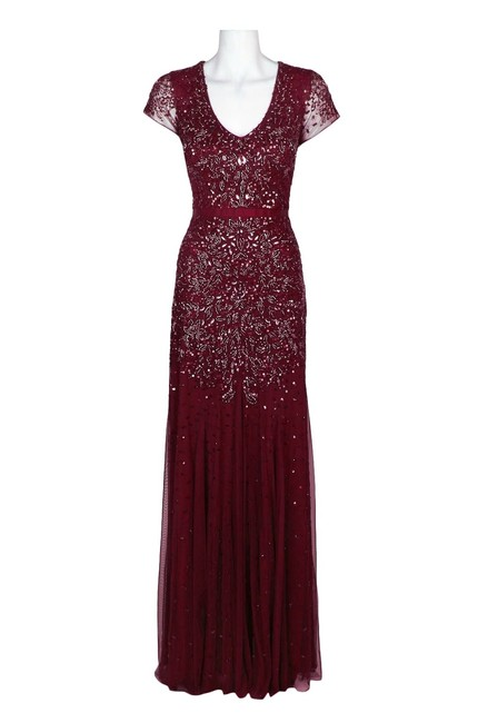 Adrianna Papell Cap Sleeve Embellished Evening Beaded Dress Image 1
