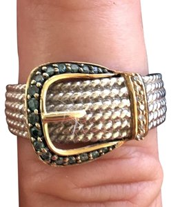 None Blue and white diamond buckle ring