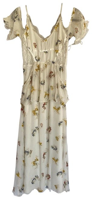 Item - Cream with Flowers Bohemian Mid-length Casual Maxi Dress Size 2 (XS)