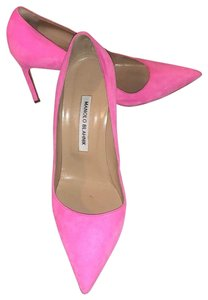 Manolo Blahnik bright pink suede Pumps