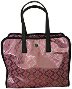 Kate Spade Xl Leather Tote in Silver/ Pink/ Black