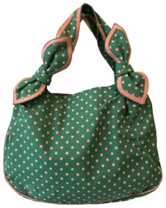 Moschino Satchel in Light green with pink polka dots