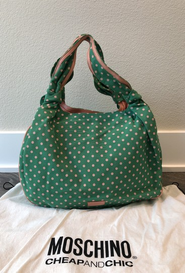 Moschino Satchel in Light green with pink polka dots Image 3