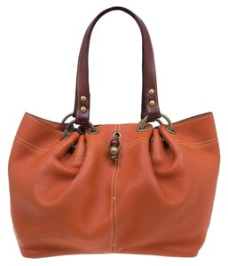 Mulberry Leather Suede Tote in Orange