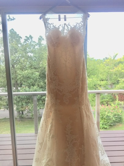 Maggie Sottero Ivory/Nude Couture (5mb657) Vintage Wedding Dress Size 8 (M) Image 4