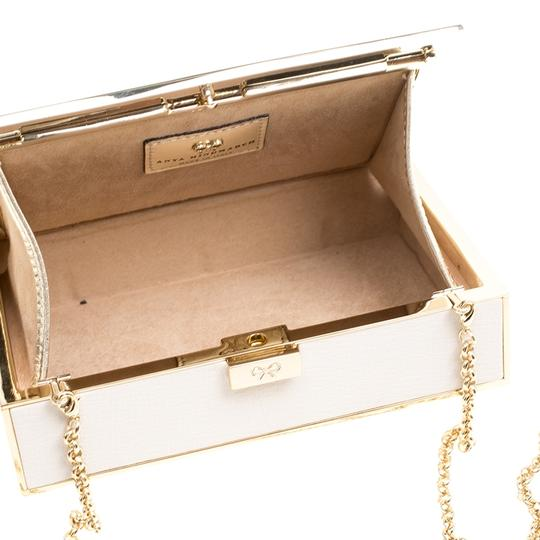 Anya Hindmarch Leather Suede White Clutch Image 5