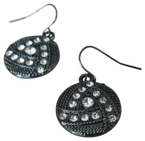 Other Avant Garde Gunmetal Swarovski Crystal Round Drop Earrings