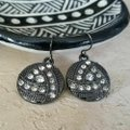 Other Avant Garde Gunmetal Swarovski Crystal Round Drop Earrings Image 1