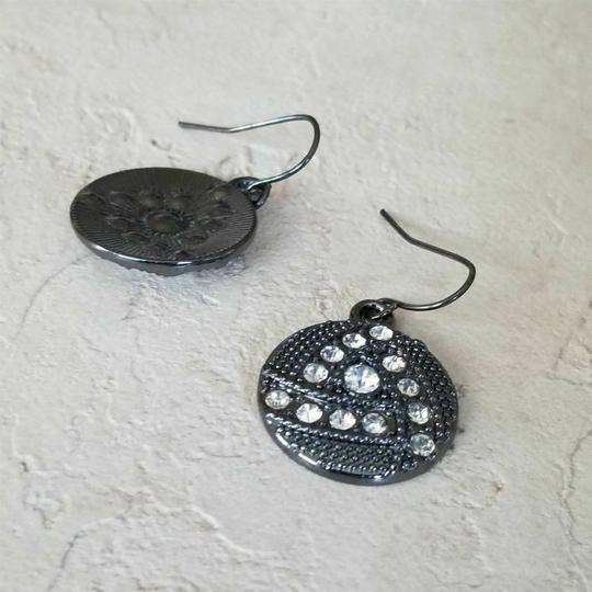 Other Avant Garde Gunmetal Swarovski Crystal Round Drop Earrings Image 3