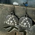 Other Avant Garde Gunmetal Swarovski Crystal Round Drop Earrings Image 4