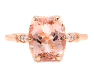 Other 3.60 Carats Natural Morganite and Diamond 14K Solid Rose Gold Ring