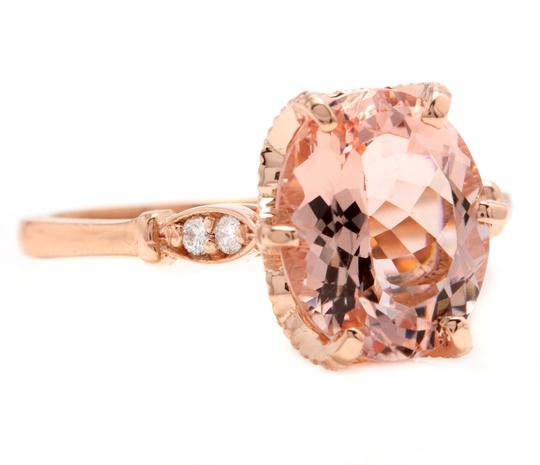 Other 3.60 Carats Natural Morganite and Diamond 14K Solid Rose Gold Ring Image 1