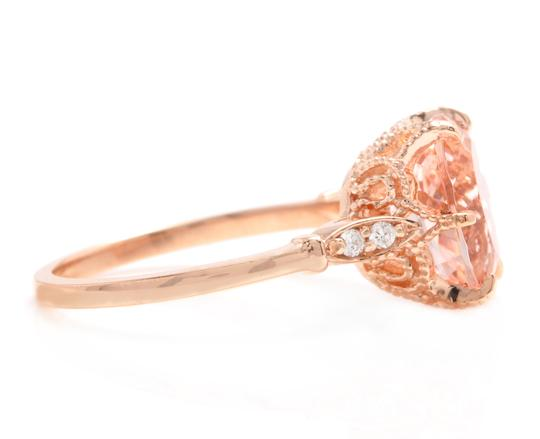 Other 3.60 Carats Natural Morganite and Diamond 14K Solid Rose Gold Ring Image 2