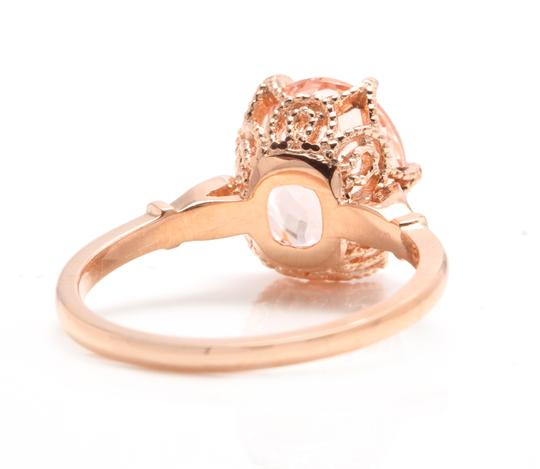 Other 3.60 Carats Natural Morganite and Diamond 14K Solid Rose Gold Ring Image 3