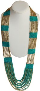 UNBRANDED Boho Chic Turquoise and Metallic Gold Glass Seed Bead Woven Necklace