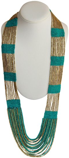 Preload https://img-static.tradesy.com/item/25816371/gold-boho-chic-turquoise-and-metallic-glass-seed-bead-woven-necklace-0-1-540-540.jpg