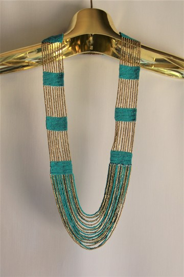 UNBRANDED Boho Chic Turquoise and Metallic Gold Glass Seed Bead Woven Necklace Image 1
