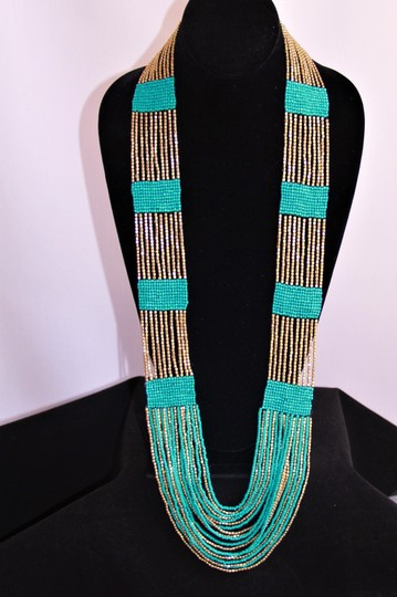 UNBRANDED Boho Chic Turquoise and Metallic Gold Glass Seed Bead Woven Necklace Image 2