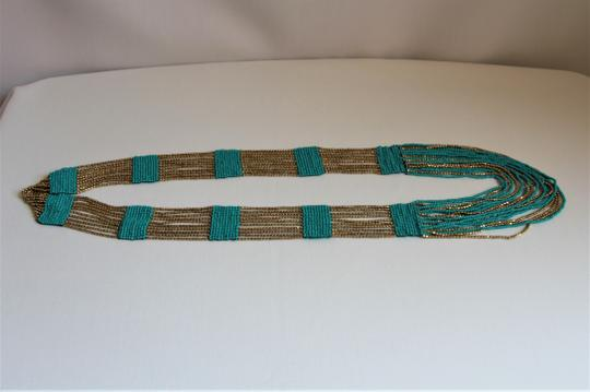 UNBRANDED Boho Chic Turquoise and Metallic Gold Glass Seed Bead Woven Necklace Image 3