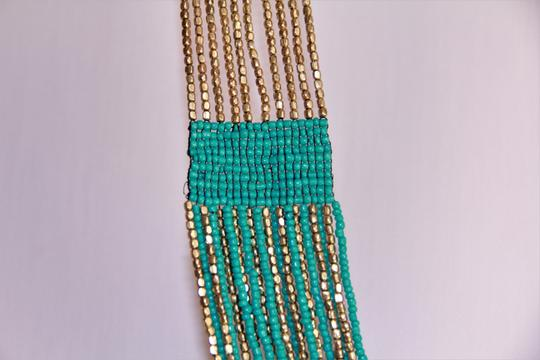 UNBRANDED Boho Chic Turquoise and Metallic Gold Glass Seed Bead Woven Necklace Image 5