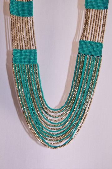 UNBRANDED Boho Chic Turquoise and Metallic Gold Glass Seed Bead Woven Necklace Image 6
