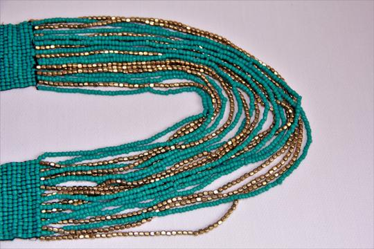 UNBRANDED Boho Chic Turquoise and Metallic Gold Glass Seed Bead Woven Necklace Image 7