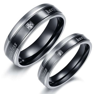 2c Black & Silver Matching Couples Ring Set Free Shipping